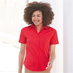 Fruit of the Loom Women's Lady-Fit Short Sleeve Poplin Shirt