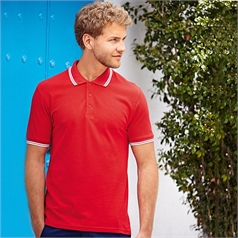 Fruit of the Loom Adult's Unisex 100% Cotton Tipped Polo Shirt