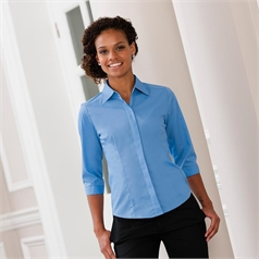 Russell Collection Ladies 3/4 Sleeve Polycotton Easycare Poplin Shirt