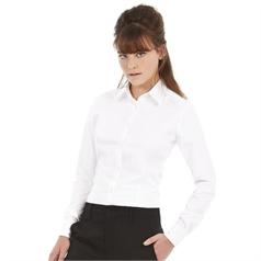 B&C Collection Women's Soft Collar Oxford Long Sleeve Blouse