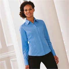 Russell Collection Women's Easycare Fitted Long Sleeve Poplin Shirt