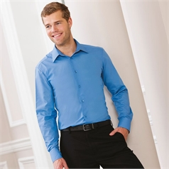 Russell Collection Men's Easycare Fitted Long Sleeve Poplin Shirt