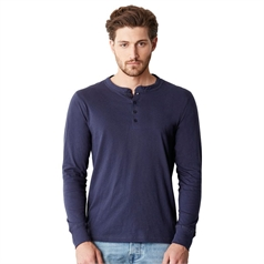 Bella Canvas Men's Henley Jersey Long Sleeve T-Shirt