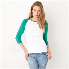 Bella Canvas Ladies Baby Rib 3/4 Sleeve Contrast Raglan T-shirt
