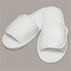 Towel City Adult's Open Toe Hook and Loop Strap Slippers