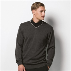 Kustom Kit Men's Contrast Tipped Arundel V-Neck Sweater