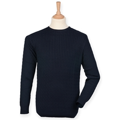 Front Row Men's Cable Knit Crew Neck Jumper