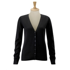 Russell Collection Women's Contemporary V-Neck Knitted Cardigan