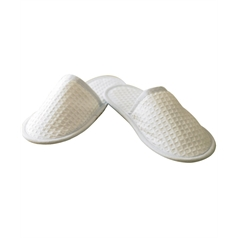 Towel City Adult's Closed Toe Waffle Fabric Mule Slippers